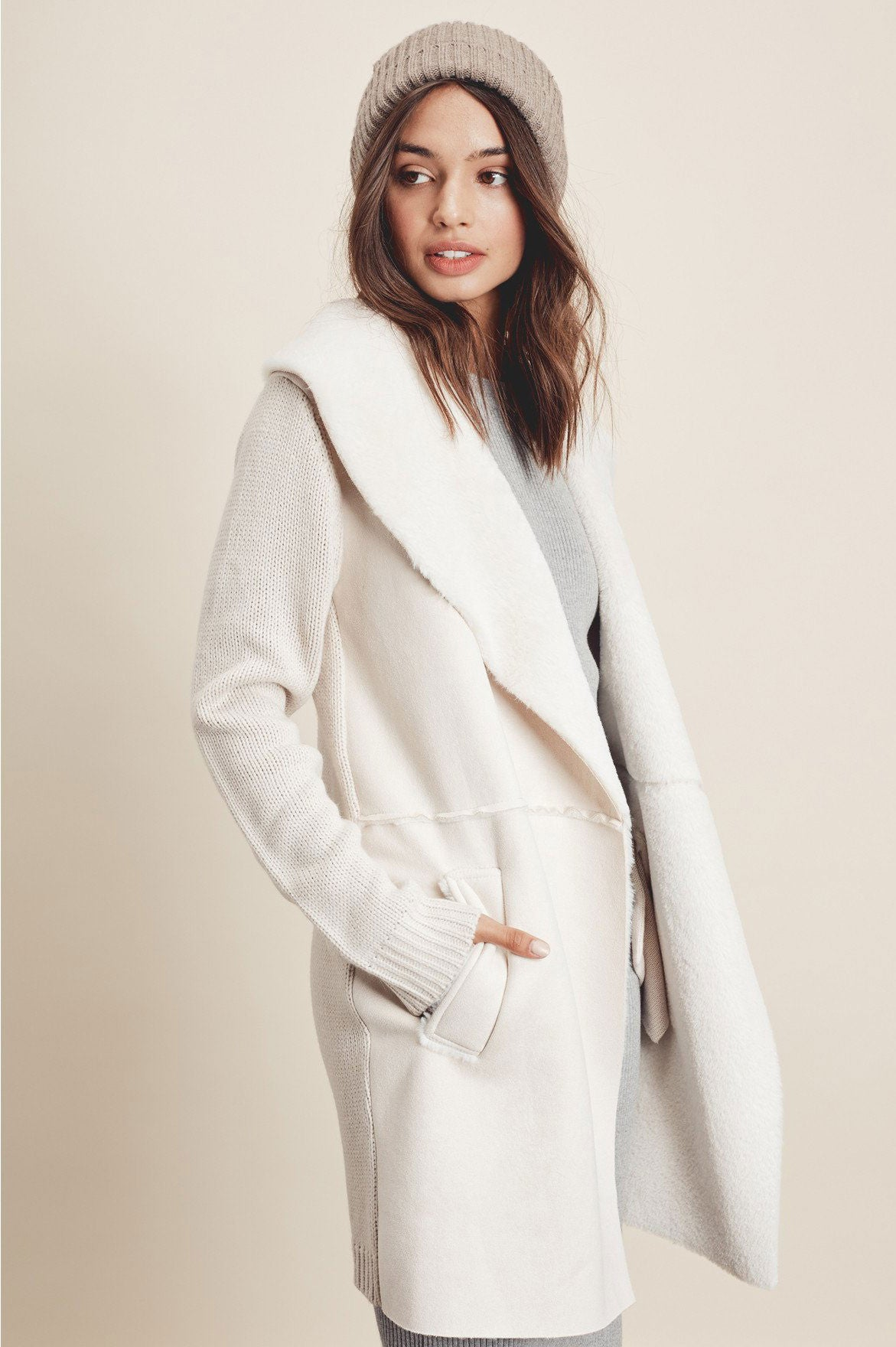 Women's cute fall outfits & white cardigan coat: Cream Coatigan, Winter wear.