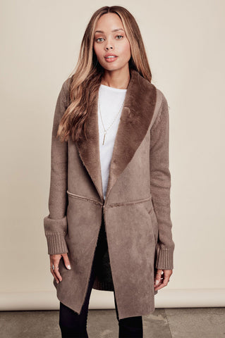 Women's cute fall outfits & white cardigan coat: Mocha Coatigan, Winter wear, Faux fur