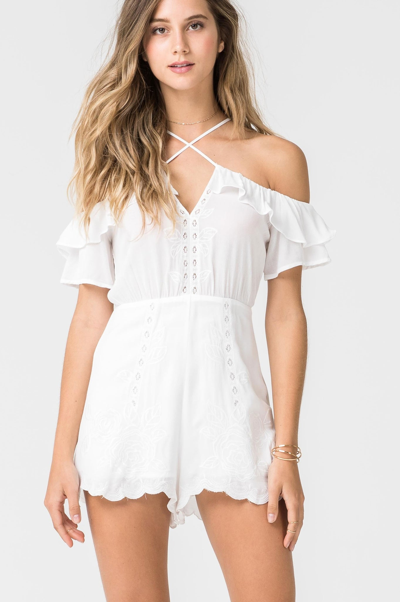 Women's white halter neck cold shoulder embroidery ruffle trim casual romper playsuit
