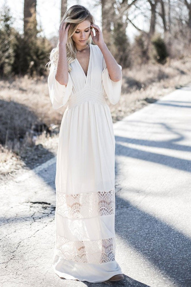 Long sleeve lace maxi dress white