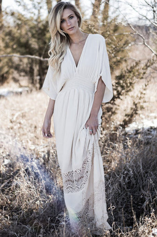 Women's cream off white lace maxi dress with kimono sleeves. Casual beach wedding boho dress with deep v-neck