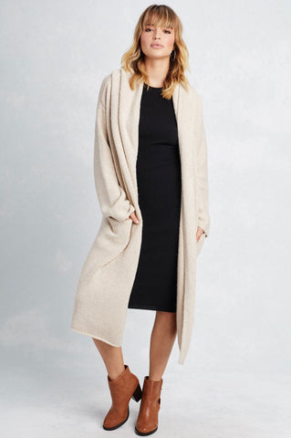 women's cream longline waterfall open front sweater cardigan coat with shawl neck hooded collar. Chunky knit