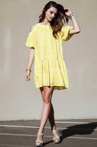 Women's yellow cold shoulder ruffle swing mini party dress for going out summer outfit