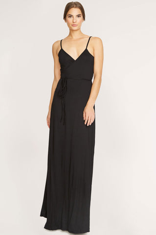 Women's sleeveless black jersey long black wrap maxi dress.