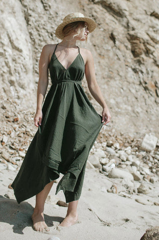 Women's sleeveless olive green halter neck maxi dress