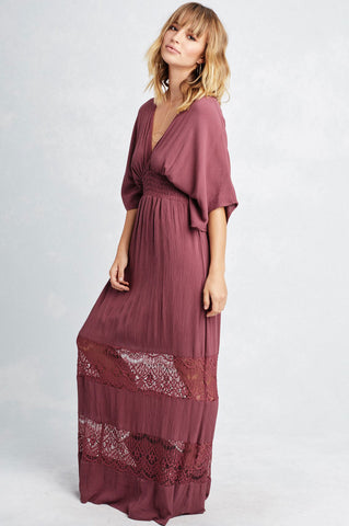 Women's lace maxi vintage dress with kaftan dolman sleeves. Casual beach wedding boho dress with deep v-neck burgundy
