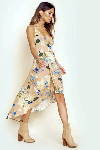 Women's sleeveless v-neck floral print long wrap max dress. Wedding attire.