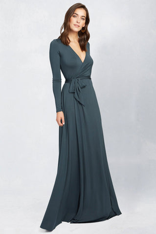 women's luxury designer long sleeve full wrap jersey maxi dress in green.