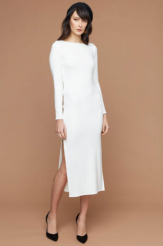 women's white long sleeve round neck midi sheath party dress with side slit.