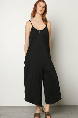 Women's sleeveless casual jersey oversized wide leg culotte jumpsuit with pocket. Black