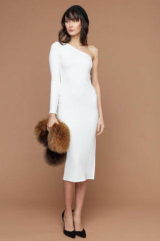 women's white one shouder long sleeve midi jersey party dress. Going out dress.