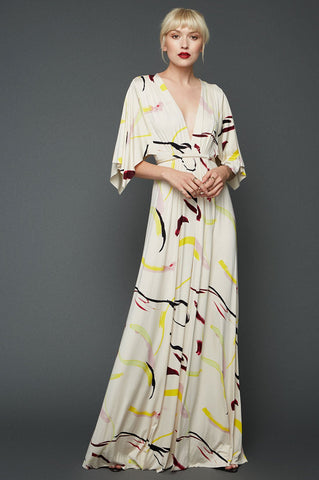 women's draped front long maxi dress. White print party maxi jersey dress.