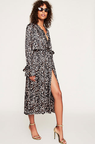 women's long sleeve leopard print open front coat wrap dress. belted