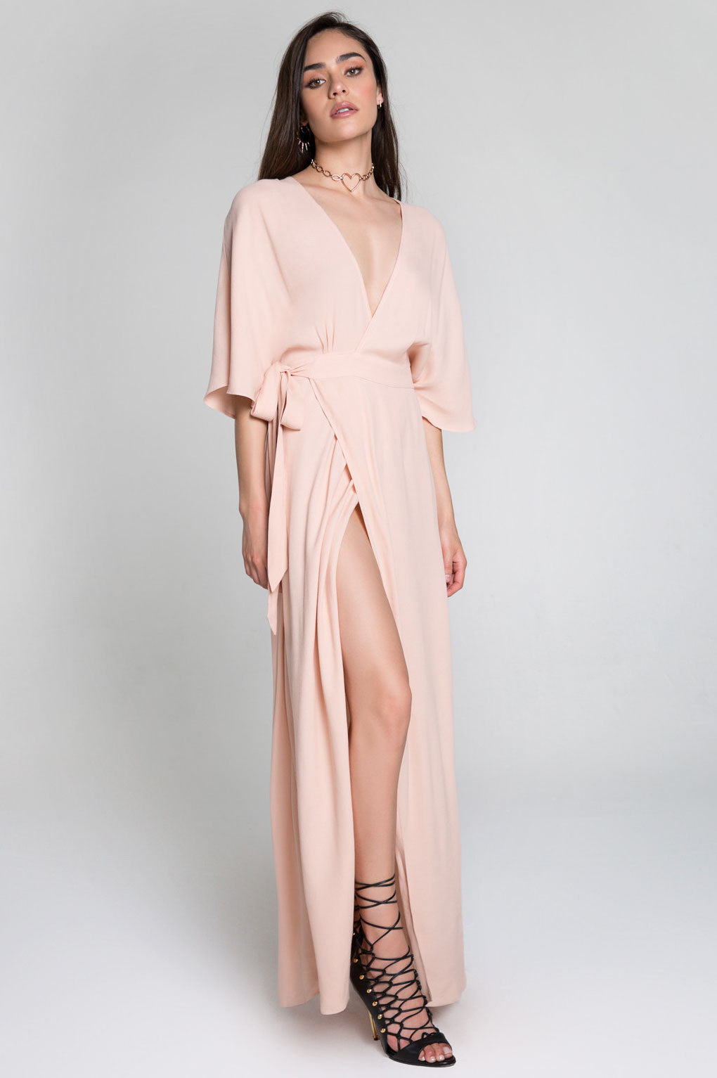 Women's pink kimono sleeve long wrap maxi bridesmaids dress