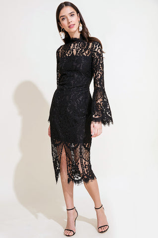womens' long sleeve black lace cocktail midi party dress for going out wedding guest attire holiday party