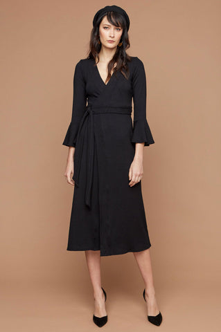 women's designer 3/4 sleeve black midi wrap dress for work or going out wedding guest attire.
