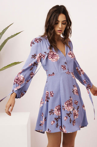 Women's long sleeve fit and flare blue lavender floral print mini party dress. pussybow neck