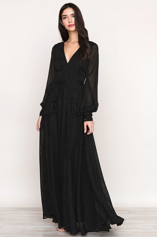 Women's long sleeve faux-wrap surplice long black maxi dress for going out wedding guest attire or bridesmaids dress