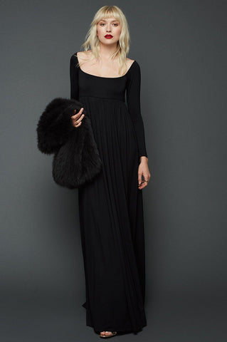 Women's black lbd long sleeve scoop neck long jersey maxi dress.