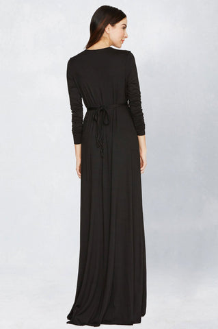 Women's black LBD V-neck draped front jersey maxi dress for going out wedding guest attire bridesmaid. Cute fall outfit