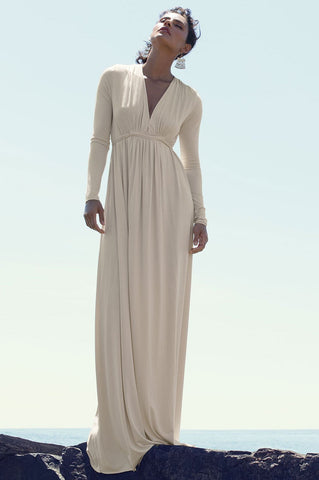 Women's cream V-neck draped front jersey maxi dress for going out wedding guest attire bridesmaid. Cute fall outfit