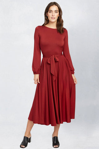women's reversible long sleeve a-line flare midi jersey dress in red. Party dress for going out.