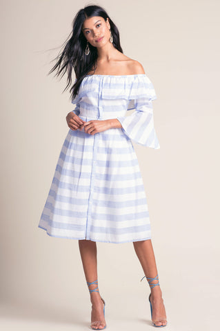 Women's 3/4 Sleeve blue and white stripe off the shoulder flare midi party dress