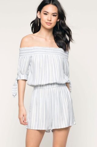 women's light blue and white stripe off the shoulder romper playsuit with short tie-sleeves. Casual