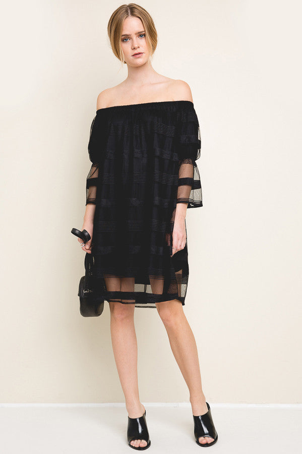 buy women's sheer chiffon off the shoulder 3/4 Sleeve mini shift party dress for going out.