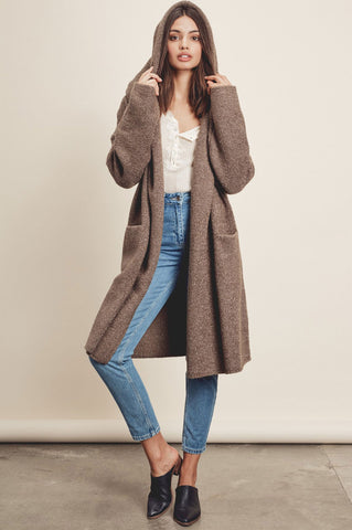Oversized long cardigan for women in Olive. Cute fall outfits. Waterfall cardigan