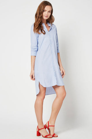 Women's light blue pinstripe button down front shirt dress.