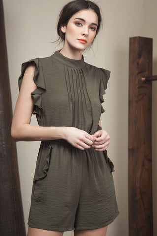Women's short ruffle sleeve olive green romper playsuit with pockets. Dressy romper for going out