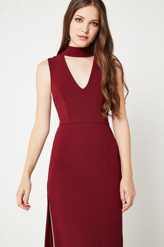 Women's choker neck, deep v-neck keyhole midi party dress with slit.