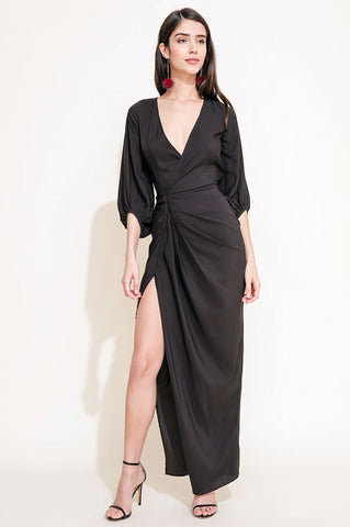 Women's long sleeve v-neck high side slit party maxi dress