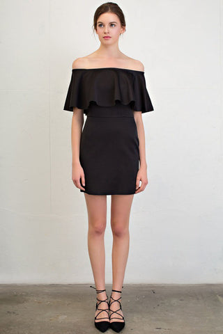 Womens Casual dress outfit ideas: black off the shoulder ruffle bodycon mini dress. Front view.