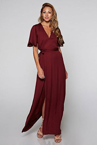 Women's short flutter sleeve wrap maxi dress in burgudny wine