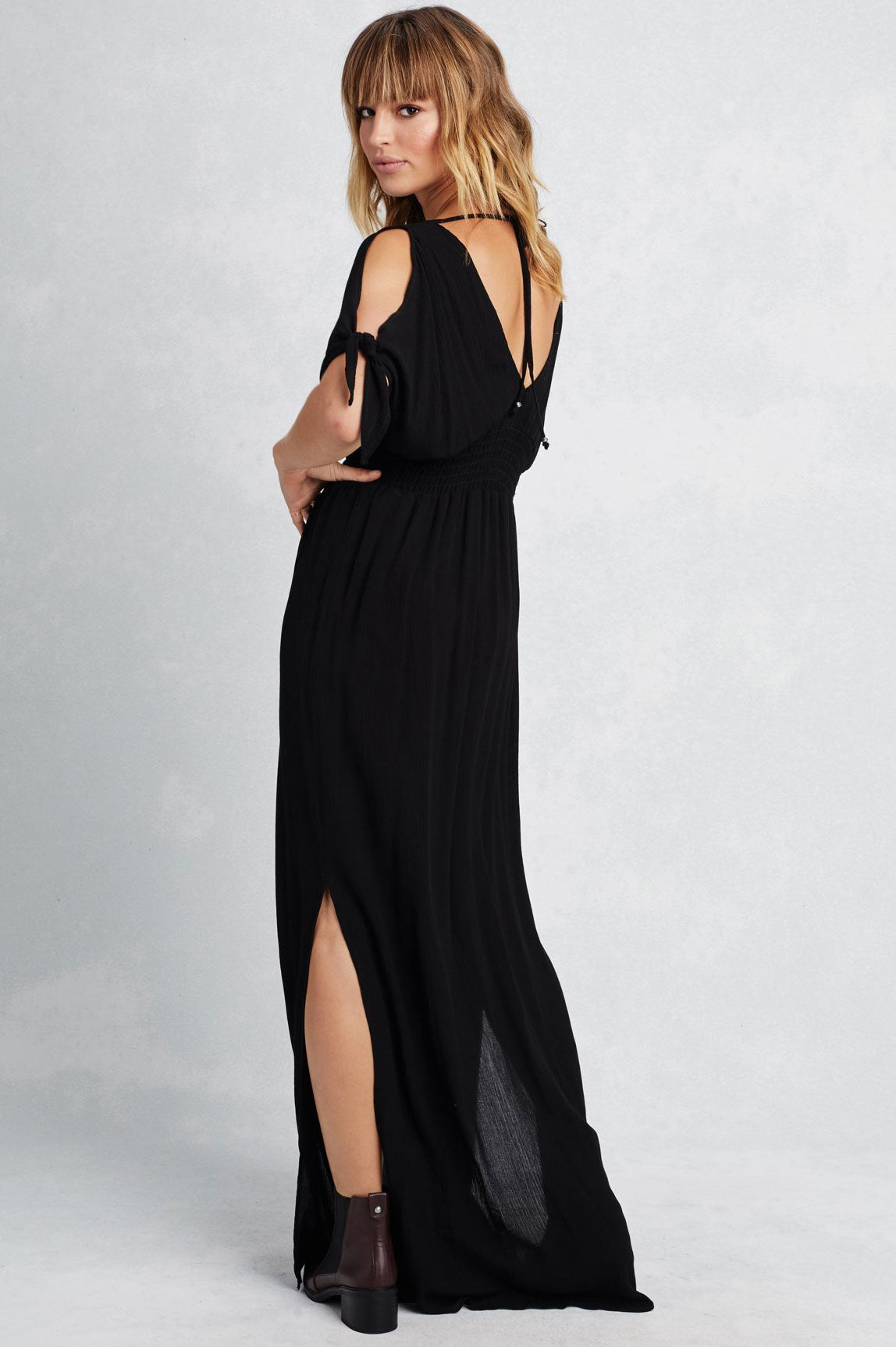 Long black maxi dress with short sleeves