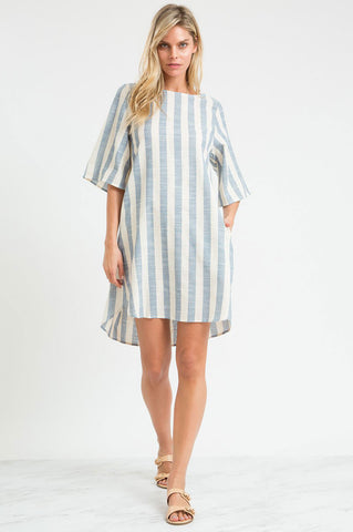 Women's short sleeve blue and white vertical stripes mini tunic shift casual dress for summer