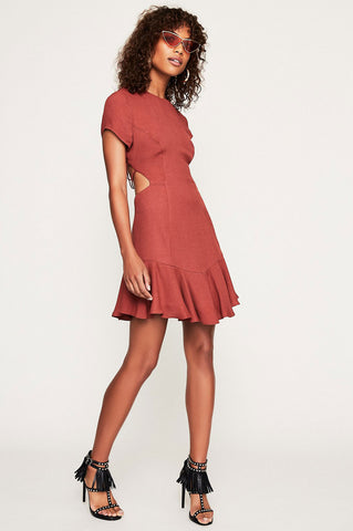 women's short sleeve lace up back ruffle trim mini fit and flare party dress in wine burgundy copper.