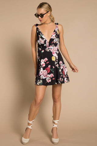 Women's sleeveless plunging deep v-neck mini  flare black floral print party dress,