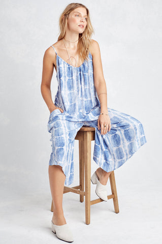 Women's blue and white tie die loose relaxed fit casual jumpsuit. Sleeveless