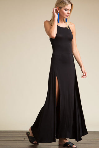 Women's Long LBD. Casual sleeveless long jersey maxi dress with front slits. Cute summer outfit. Black LBD dress