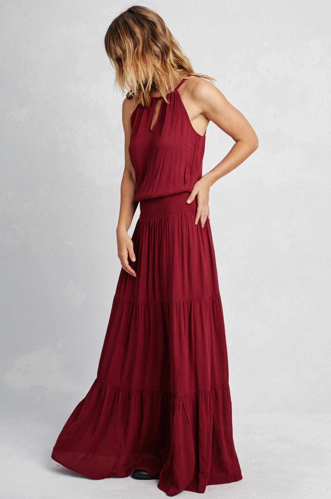Women's sleeveless halter neck tiered peasant style casual maxi dress. Burgundy wine red