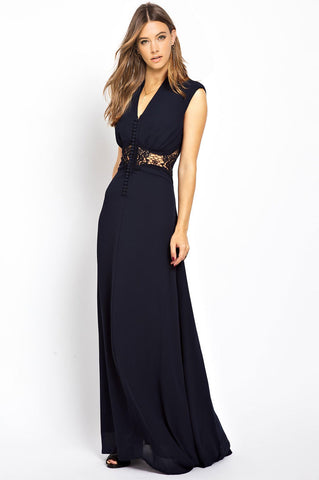 women's dark navy blue sleeveless deep v-neck lace inset party maxi dress for wedding bridesmaid