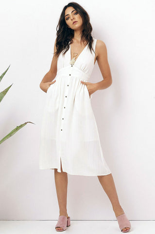 Women's sleeveless plugning deep v-neck button down front a-line fit and flare casual day midi dress in off white. Cream sundress
