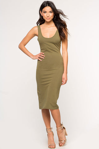 women's sleeveless round neck skinny tank jersey dress bodycon midi olive green