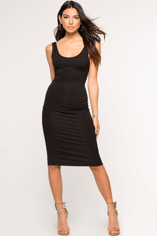 womens sleeveless round neck skinny tank jersey dress bodycon midi lbd