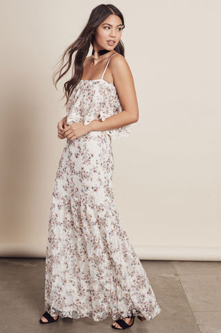 Women's sleeveless spaghetti strap ruffle to floral print lace maxi dress for casual beach wedding. off white, cream party dress.