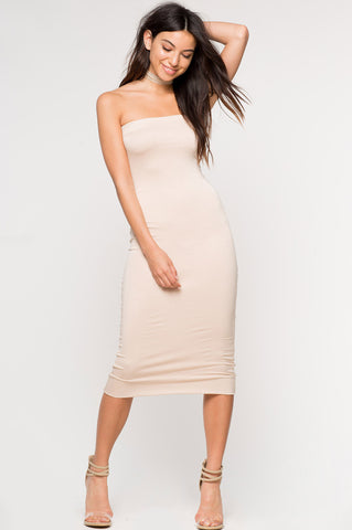 women's strapless sleeveless jersey tube bodycon midi dress in cream