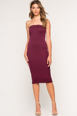Women's strapless sleeveless casual jersey bodycon midi day dress for summer
